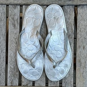 Coach Poppy Wilma Silver Thong Sandals